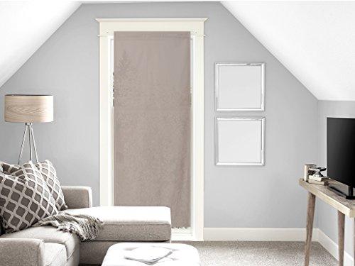 Soleil d'Ocre Voile Porte fenêtre en Coton 70x200 cm Panama Taupe, Ecru, 200x70 cm