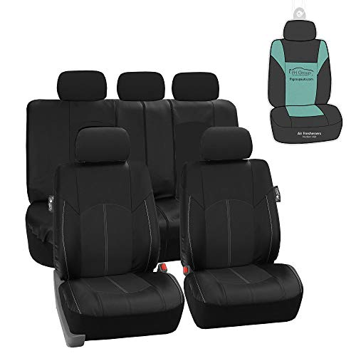 FH Group PU008115 Highest Grade Faux Leather Seat Covers (Black) Full Set with Gift - Universal Fit