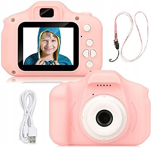 Retoo Kinder Digital Kamera 1080P mit 2 Zoll Bildschirm, Video Kinderkamera mit Wiederaufladbare Akku, Digitalkamera, Spielzeug für Kleinkind, Fotoapparat, Geschenk für Jungen,Mädchen (Rosa Weiß, 3MP)