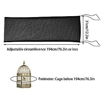 Furpaw Couverture de Cage, Housses pour Cages à Oiseaux Maille Couverture Protection Cage, Mesh Pliable Flexible Contraction pour Perroquet Perruches Canaris - Noir