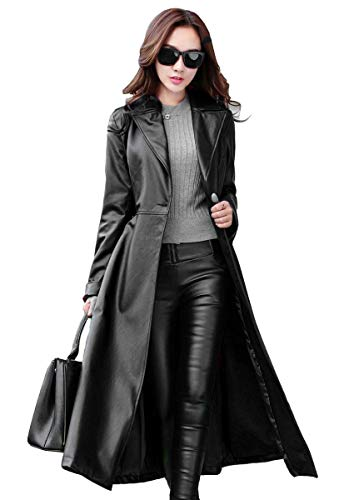 Koza Leathers Women's Lambskin Leather Trench Jacket Over Coat WT021 (X-Large (Fit to Chest 38), Black)