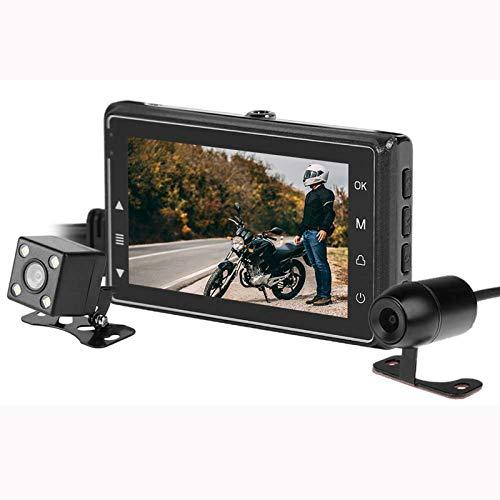 ALLWIN Leva Salpicadero Motocicleta LCD 3 Pulgadas,Cámara De Grabación Impermeable HD para Motos,con Cámaras De Salpicadero Delanteras Y Traseras G-Sensor 1080P + 720P,para Motociclista