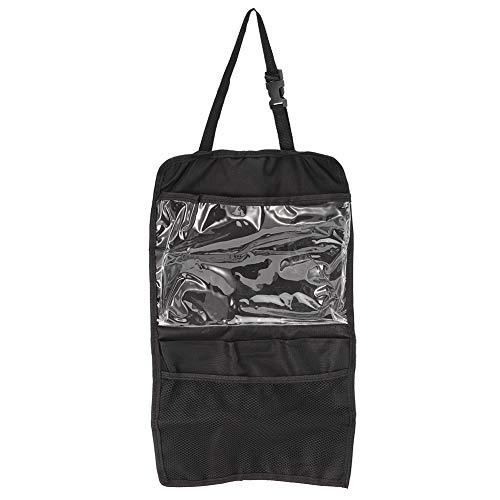 DERCLIVE Bolsa de almacenamiento universal para asiento trasero organizador bolsillos para tablet botella bebida F negro