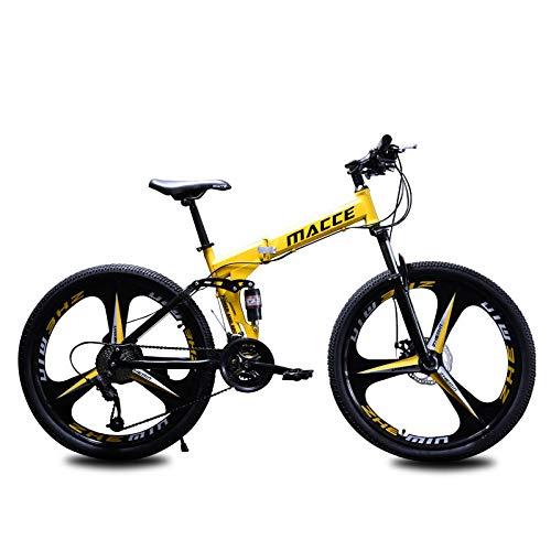 W&HH Klapprad Mountainbike, MTB Dual-Scheibenbremse Aluminium-Legierung/High Carbon Stahl Mountain Bike, Stoßdämpfung,Yellow 24in,24 Stage Shift