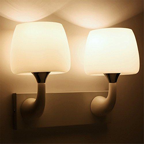 JJZHG Wandlamp Indoor Wandlamp Wit enkele hoofd dubbele hoofd paddestoel muur lamp wit glas lampenkap led nachtlampje badkamer gang lamp 6011 (DF1D), dubbele kop omvat: wandlampen