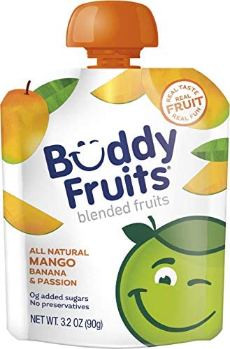 Buddy Fruits Pure Blended Fruit To Go Apple and Mango Applesauce 100 Real Fruit No Sugar Non product image