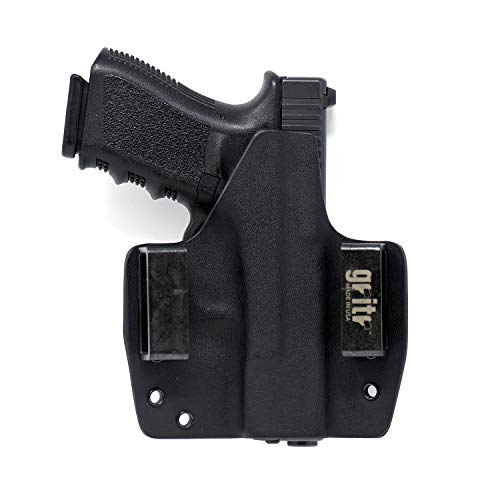 Gritr Holsters Universal Holster for Glock 17, 19, 22, 23, 26, 27, 31, 32, 33 (Gen 1-5) - OWB Holster - Outside The Waistband, Made in USA, KYDEX, Left Hand