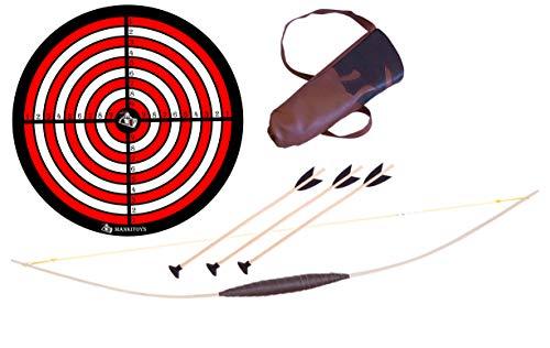 Mankitoys El juego de arco infantil contiene arco infantil de madera de 80 cm con carcaj, 3 flechas con ventosa y diana, arco para niños a partir de 5, tiro con arco (80 cm).