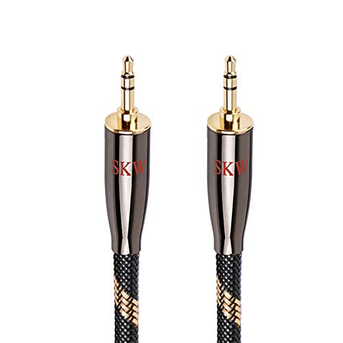SKW Audiophiles AUX Cable 3.5mm Male to Male with OD 6.8mm Stereo Audio Cable for Subwoofer,Home Theater and More (3.2ft/1M,Nylon)
