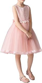 Summer Kids Princess Dress Girls Lace Tutu Wedding Bridesmaid Christening Dress Elegant Sleeveless Birthday Party Dress Fl...