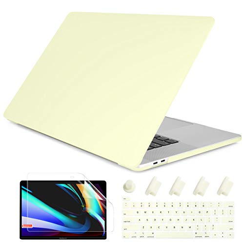 Dongke MacBook Pro 13 inch Case 2019 2018 2017 2016 Release A2159 A1989 A1706 A1708, Cream Color Series Matte Plastic Hard Shell Cover for MacBook Pro 13 with Touch Bar Retina Display Mellow Yellow