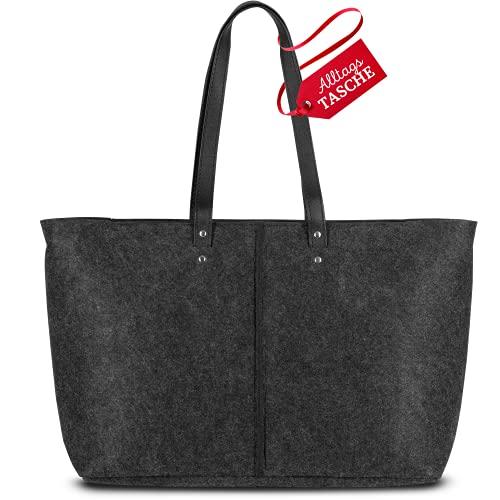 BEFELT Filztaschen Shopper [24 Liter Volumen]   Große Einkaufstasche/Tragetasche im Handtaschen Design [Mit Leder Details und Innentaschen]   Perfekte Tasche für jeden Tag   Vielseitig einsetzbar