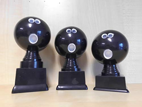 Fanshop Lünen Bowling - Bowlen - Pokal 3er Serie - Figuren - Figur - Turnier - Kids - Trophäe - Pokale - (Schwarz) - mit Gravur - (pf306) -