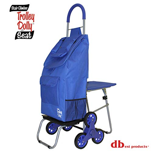 dbest products Stair Climber Trolley Dolly with Seat, Blue Shopping Grocery Foldable Cart Tailgate