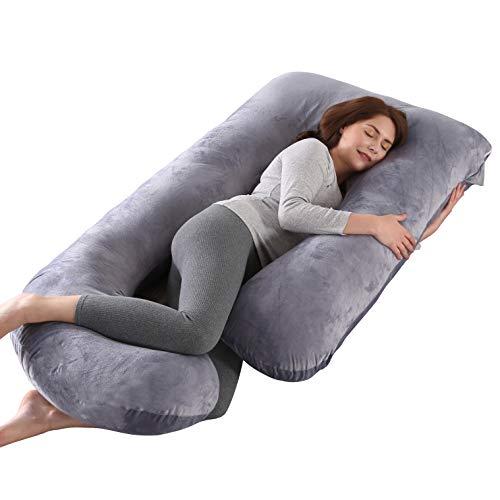 ARNTY Schwangerschaftskissen Zum Schlafen u Form,Pregnancy Pillow,Gross Kissen Schwangerschaft,Lagerungskissen mit Abnehmbarem Waschbarem Bezug (Grau-Kristallsamt)