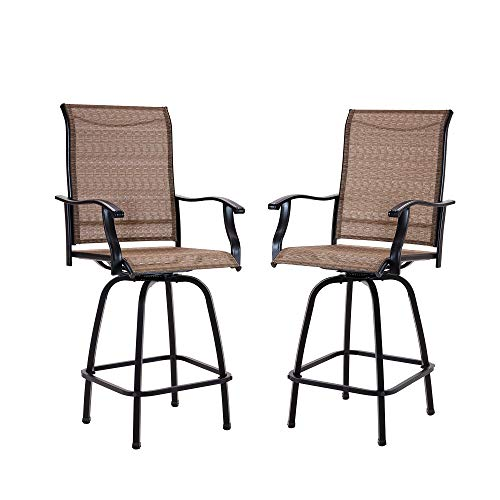 Swivel Bar Stools Patio Chair All-Weather Outdoor Furniture for Deck Balcony Porch Pergola, 2 Pack