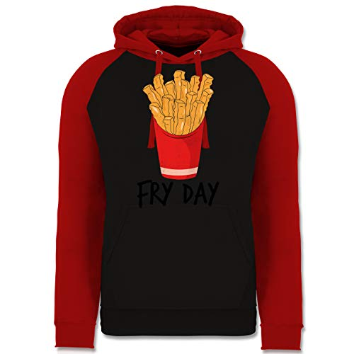 Shirtracer Statement - Fry Day - Pommes Frites - M - Schwarz/Rot - Pommes Pullover - JH009 - Baseball Hoodie