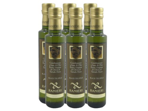Black Truffle Oil (Extra Virgin Olive Oil Infused With Black Truffle) By Ranieri (Case of 6 - 8.5 Ounce Bottles)