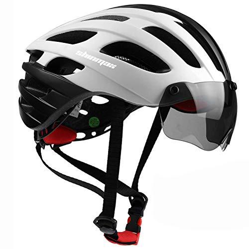 Shinmax Fahrradhelm,Fahrradhelm Herren Damen Erwachsene CE-Zertifikat Fahrradhelm mit Visier Verstellbar Rennradhelm mit Wiederaufladbar Sicherheit USB Rücklicht Fahrradhelm Herren MTB 57-62cm(RC-049)