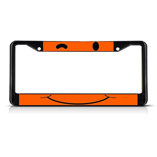 Winky Gezicht Oranje Metaal Zwart License Plaat Frame Tag Houder Perfect voor Mannen Vrouwen Auto garadge Decor