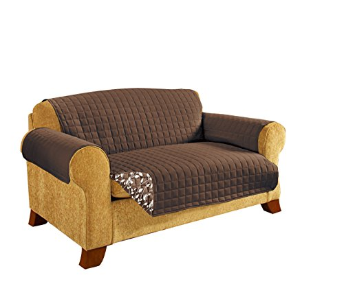 CELINE LINEN Reversible Quilted Furniture Protector- Special Treatment Microfiber As Soft as Egyptian Cotton, Brown Leaf Sofa