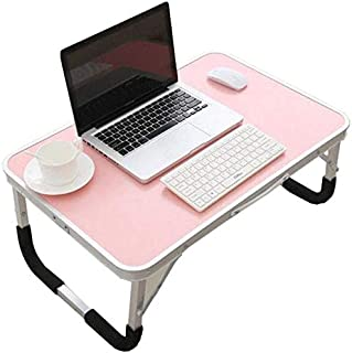 High quality Tables Portable Folding Computer PC Laptop Bed Tray Desk Home Office Furniture (Color : Pink, Size : 72 * 49 ...