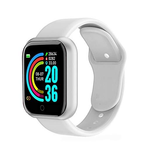 XXY Smart Watch Hombres Impermeable Deporte Fitness Tracker Pulsera Inteligente Presión Arterial Monitor De Frecuencia Cardíaca Y68 SmartWatch (Color : White)