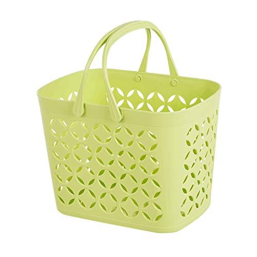 XINGDONG Cesta de almacenamiento cesta de la compra cesta de ducha de plástico cesta de almacenamiento de baño Mini cesta de plástico portátil para lavar (Color: verde)