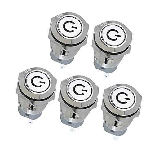 Keep it simple Ajuste para 12V 3A Interruptor de pulsador LED Latching 16mm Anillo de alimentación Aluminio Metal Bluex5