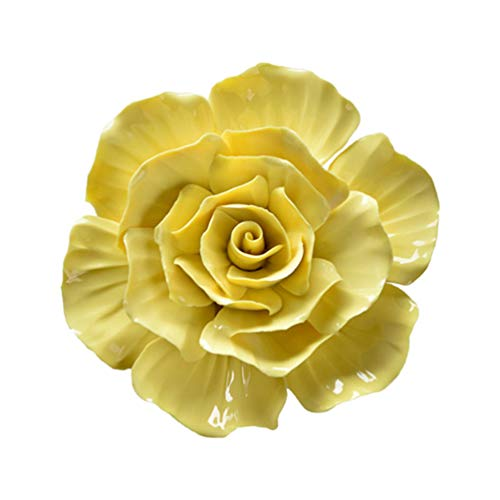 Garneck Ceramic Flower Wall Hanging 3D Rose Artificial Flower Wall Background Mural Hanging Flower Decoration (Yellow)