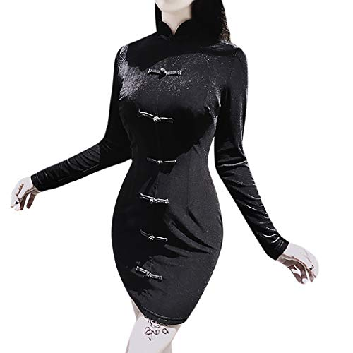 QingJiu Damen Vintage Knopf Hohe Taille Cheongsam Kleid Langarm Stehkragen Volltonfarbe Gothic...