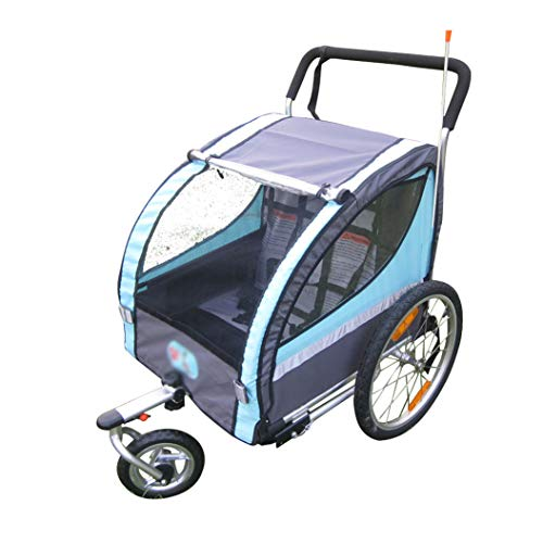 QQLOV 2 in 1 Child Trailer Bicycle 2 Seater Hand Trolley Kids Trailer Buggy Jogger 1 6 Years Old Collapsible Parent child Bike Rear Trailer BlueredColorBlue