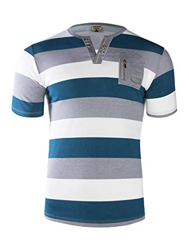 Trisens Herren Sommer Polo Hemd T-SCHIRT POLOSCHIRT GESTREIFT Kurzarm 100% Baumwolle, Farbe:Türkis, Größe:XXL