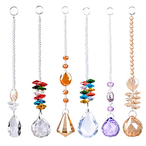 SunAngel Colorful Jewelry Crystals Pendants ampChandelier Suncatchers Prisms Hanging Ornament Octogon Chakra Crystal Pendants for HomeOfficeGarden Decoration 6 PCS