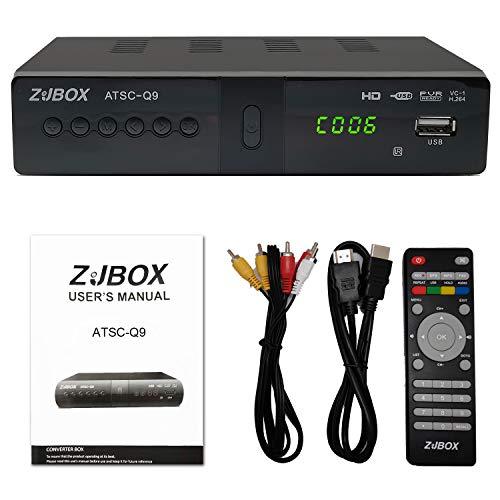 Digital TV Converter Box, ATSC Cabal Box - ZJBOX for Analog HDTV Live1080P Set Top TV Box with PVR Recording&Playback,HDMI Output,Timer Setting LED HDTV Set Top TV Box Digital Channels Free