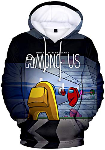 MINIDORA Among Us Sudadera con Capucha 3D Imprimió Hoodies Hombres Casual Manga Larga Juego Pullover Sweatshirt(XXL,K06271)