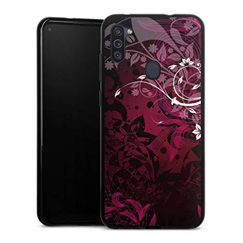 DeinDesign Silikon Hülle kompatibel mit Samsung Galaxy M11 Hülle schwarz Handyhülle Ornamente Blume