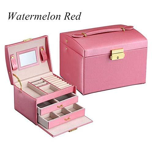BABIFIS Joyería de la Caja, portátil de Cuero de la PU de Tres Capas Dobles cajones joyero Princesa de Almacenamiento con Bloqueo de Espejo D(Watermelon Red)
