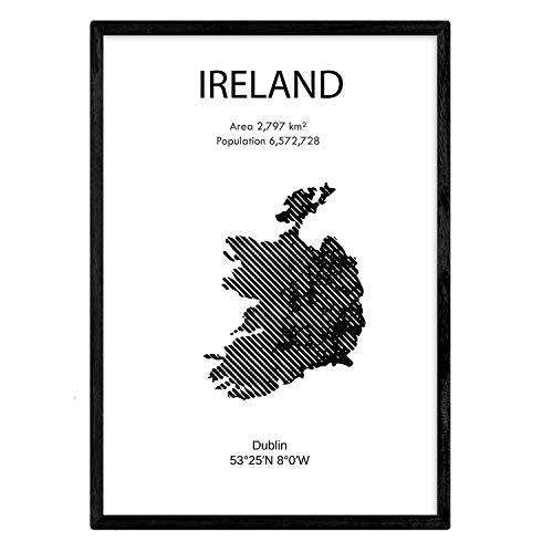 Nacnic Poster Irland. Blätter von Ländern und Kontinenten. A3 Größe