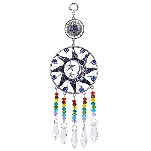 YU FENG Turkish Blue Evil Eye Pendants with Moon&Star Charm and with Crystal Chakra Prism Ball Suncatcher Ornament (38mm Crystal Beads)