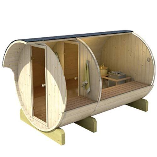 SERENDIPITY BAZAR Sauna Barril 330 Finnische Sauna, Querform, Barrel Sauna für den Außenbereich