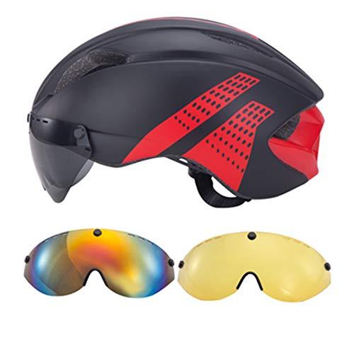 3 Lentes Aero Gafas Bicicleta Casco triatlón Ciclismo Casco en moldes Carreras Seguridad Carretera Bicicleta Casco Black-Red 3Lens 2 L 57-61cm