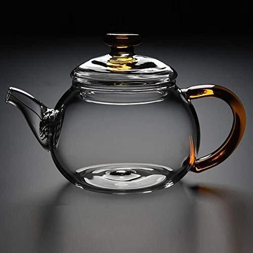 JiangKui Tetera de Vidrio con Infusor Tetera con Colador para Té Suelto Vidrio de Borosilicato Alto Mini Tetera Soplada a Mano Infusor de Vidrio Tetera Se Puede Usar en la EstufaA