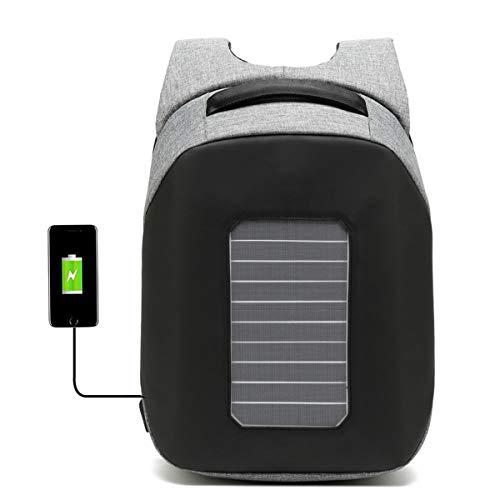 WishY Paneles Solares Solar Mochilas, Cargador Solar Mochilas Conveniente para Acampar, Senderismo, Viajes, iPhone, iPad, Huawei, Al Aire Libre,Gray