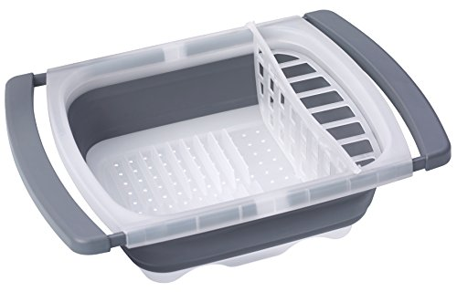 Prepworks by Progressive Collapsible Over-The-Sink Dish Drainer, CDD-20GY, Large Washing Basin, Dish Tub, Perfect for RV, Best Camping Camper Dish...