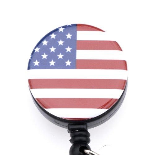 "American Flag Badge Reel/Red White and Blue Retractable Badge Reel/ID Badge Holder- Solo Badge Reel or Rhinestone Lanyard and Badge Reel Set (Solo American Flag Badge Reel 1.25"")"