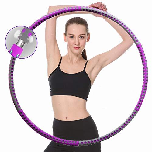 Hula Fitness Reifen Hoop für Erwachsene zur Gewichtsreduktion, 1-4kg Gewichteter Hula-Ring Rostfreier Stahl Fitnessreifen 6 Segmente Abnehmbarer Geeignet für Fitness Training/Abnehmen/Bauchformung