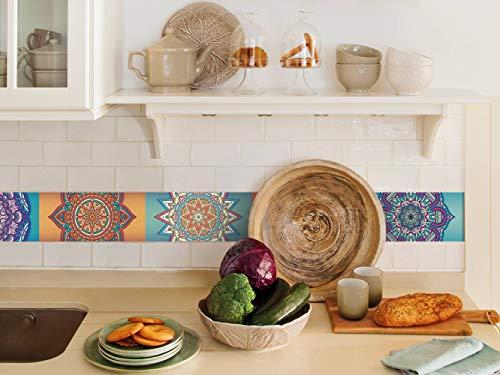 Cenefa auto-adhesiva | Decoración de pared cocina & baño, 5 m x 15 cm | Mandala Colors