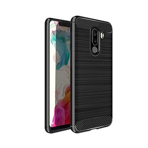Cover Xiaomi Pocophone F1, Fibra di Carbonio Custodia Morbido TPU Silicone Case per Xiaomi Pocophone F1 Ultra Sottile Flessibile Bumper Anticaduta Antiurto AntiGraffio - Nero