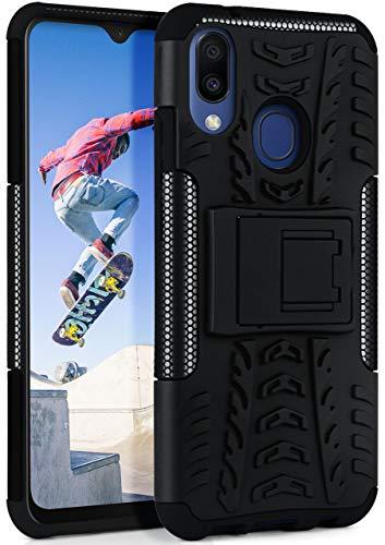 ONEFLOW Tank Hülle kompatibel mit Samsung Galaxy M20 - Hülle Outdoor stoßfest, Handyhülle mit Ständer, Kamera- & Displayschutz, Handy Hardcase Panzerhülle, Obsidian - Schwarz